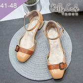大尺碼女鞋-凱莉密碼-復古皮紋皮帶扣飾方頭瑪麗珍低跟涼鞋4cm(41-48)【GR86-4】米白