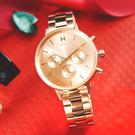 MVMT / D-FC01-RG / 經典三眼 兩地時間 礦石強化玻璃 不鏽鋼手錶 鍍玫瑰金 38mm