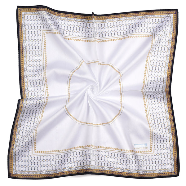 WEDGWOOD橢圓圖月桂葉紋印花純綿帕領巾(白色)989219-79