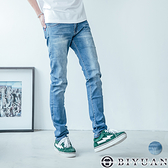 韓版 大彈性 牛仔褲【OBIYUAN】刷色 刷痕丹寧 長褲 共1色【P2120】