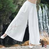雙層雪紡闊腿褲 高腰文藝復古民族風手繪大腿長褲裙褲 萬聖節鉅惠