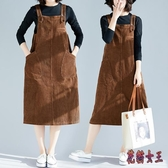 無袖洋裝2020新款純色燈芯絨文藝背心連身裙寬鬆大碼顯瘦背帶裙 LF1581【花貓女王】
