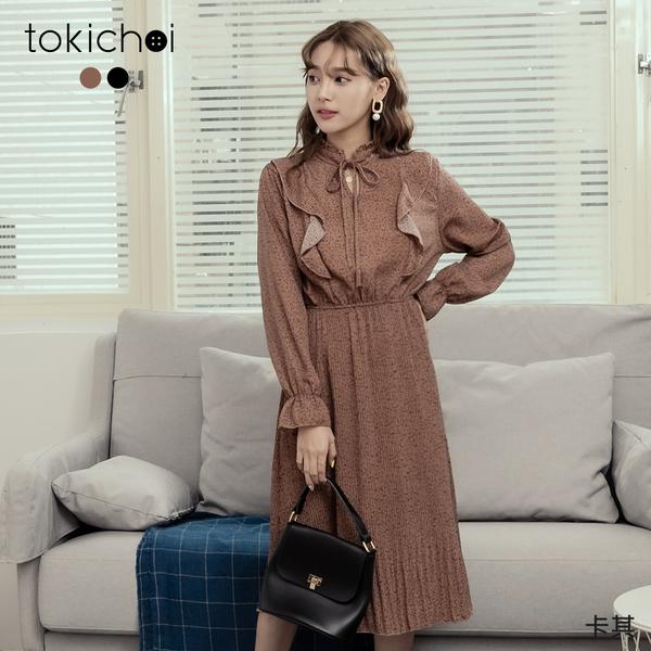 東京著衣-tokichoi-波點印花荷葉領綁結細褶長洋裝(191478)