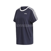 adidas 短袖T恤 3-Stripes Essentials Boyfriend Tee 藍 白 女款 長版 運動休閒 【PUMP306】 FN5778