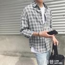 ulzzang原宿港風寬鬆格子襯衫男長袖韓版潮流休閒百搭學生襯衣男『快速出貨』