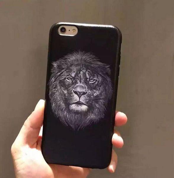 【SZ33】iphone 6 plus手機殼 黑邊蠶絲紋獅子頭全包軟殼 iphone 6s 手機殼 iphone 6s手機殼