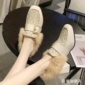 牛津鞋毛毛鞋女外穿2019新款秋冬季加絨粗跟豆豆鞋高跟女鞋英倫風小皮鞋 PA12150『棉花糖伊人』