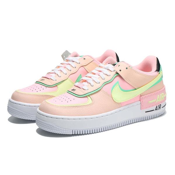 NIKE 休閒鞋 AIR FORCE 1 SHADOW 粉綠螢光 解構 馬卡龍 女 (布魯克林) CU8591-601
