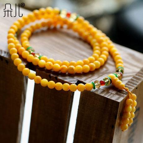 開光金黃金絲硨磲108顆佛珠 配紅瑪瑙男女士款
