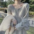 針織連身裙 溫柔風氣質內搭長裙女年秋冬針織連身裙過膝打底毛衣裙子 晶彩生活