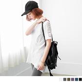《AB0293》胸前U字造型鏤空肩剪竹節棉長版上衣.4色 OrangeBear