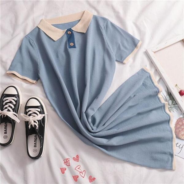 針織連身裙泫雅風裙子2021新款超仙甜美polo裙短袖連身裙學院風中長款針織裙 衣間迷你屋