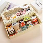 五雙禮盒組 新生兒襪 寶寶襪【JB0074】純棉翻領寶寶襪 腳底防滑帶點膠(不勒腳) 彌月禮 嬰兒襪