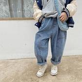 獨特剪裁側邊貼布寬鬆牛仔褲 長褲 大童 哈倫褲 褲子 橘魔法 現貨 童裝 男童 女童 中性款