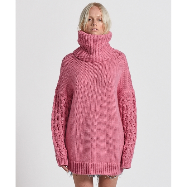 OneTeaspoon 針織上衣 RIDER ROLL NECK SWEATER - 20%羊毛成分-粉(女)
