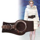 腰封 羽絨服女裝飾冬季鬆緊彈力皮帶時尚簡約百搭 YY4543『東京衣社』