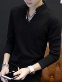 秋季短袖t恤男2019新款衛衣男裝長袖體恤打底衫青年polo衫上衣服  自由角落
