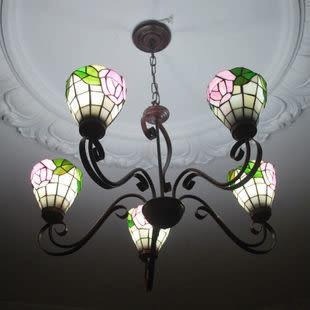 設計師美術精品館歐式燈飾古典蒂凡尼燈飾玫瑰鐵藝吊燈 客廳餐廳彩色玻璃吊燈