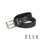 背包族【ELLE HOMME】品牌休閒皮帶/商務皮帶(黑色)-E字方框鏤扣