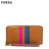 FOSSIL LOGAN 多彩飾紋含手帶拉鍊式長夾-棕色 SL6329875