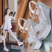 厚底楔形涼鞋女2019新款夏季韓版百搭水鑚厚底鞋防水台高跟鞋網紅女鞋滿天星