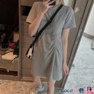 熱賣T恤裙 胖妹妹夏季短袖t恤女設計感抽繩上衣遮肉顯瘦打底連身裙加肥加大【618 狂歡】