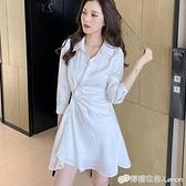 夏季新款氣質收腰皺褶不規則襯衫短裙子設計感小眾洋裝兩件套女