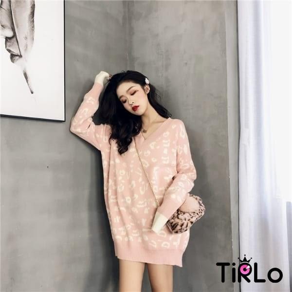 針織衫-Tirlo-自留款!寬鬆豹紋柔軟針織衫-三色(現+追加預計5-7工作天出貨)