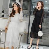 白色蕾絲連身裙秋裝甜美V領系帶收腰顯瘦打底裙仙女裙子洋裝-BB奇趣屋