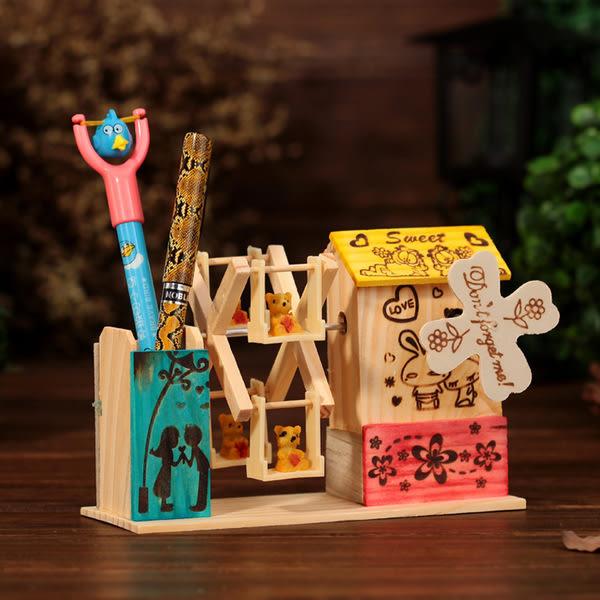 CH102─木質風車筆筒音樂盒八音盒桌面裝飾擺件畢業禮物送同學老師(花色)