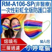 【3期零利率】預購 RM-A106-SP 一次性彩虹全版防護口罩 50入/包 3層過濾 熔噴布 高效隔離(非醫療)