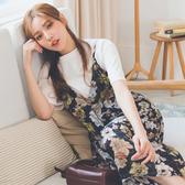 MUMU【O33404】花卉印花細肩連身雪紡裙。白/藍