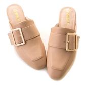 amai金屬方釦皮帶小方頭穆勒鞋 粉