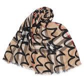 BURBERRY 錯視藝術風格紋羊毛絲綢圍巾(駝/黑色)089536