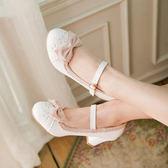 娃娃鞋甜美高跟鞋洛麗塔鞋子日繫lolita鞋公主鞋蕾絲蝴蝶結單鞋女防水台 全館免運