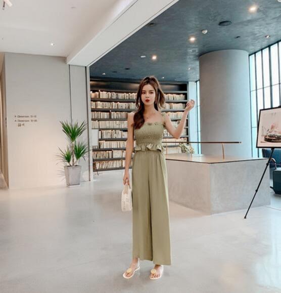 VK旗艦店 韓系雪紡寬口褲時尚氣質綁帶套裝無袖裙裝