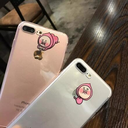 【SZ33】創意惡搞屁桃君iphone6/iPhone7/8透明tpu卡通軟殼 iPhone6s plus情侶手機殼