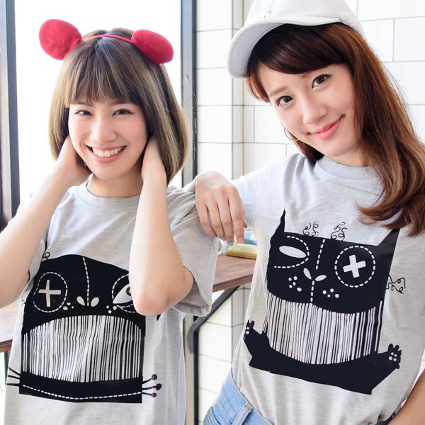 24小時快速出貨 情侶裝 潮T 純棉短T MIT台灣製造【Y0218】短袖-線條貓貓狗狗 可單買 男女可穿