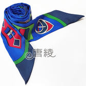 【Hermes 愛馬仕】機械繽紛造型Twilly絲巾/領結(藍色)
