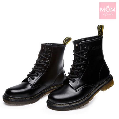 歐美經典款8孔綁帶真皮馬丁靴 短靴 工程靴 漆皮黑 *MOM*