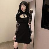夜店女裝2020新款潮氣質時尚鏤空蹦迪衣服修身顯瘦打底黑色洋裝 陽光好物