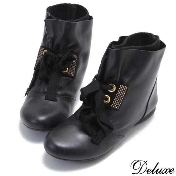 【Deluxe】全真皮率性頂級綁帶燙鑽雙層平底短靴(黑)