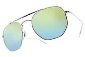 RayBan 太陽眼鏡 RB3648 003I2 (銀-漸層綠藍水銀棕鏡片) 幾何多邊飛行款 墨鏡 # 金橘眼鏡