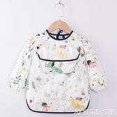 罩衣 寶寶純棉罩衣吃飯防水防臟兒童圍裙長袖反穿衣小孩嬰兒圍兜護衣 宜品居家