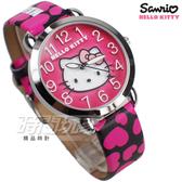 HELLO KITTY 凱蒂貓 公司貨 甜心時刻 滿滿愛心 童趣 卡通錶 女錶 真皮帶 桃紅x黑 LK689LWMB