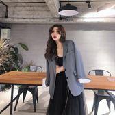 韓版chic早秋上衣兩粒扣寬鬆長袖西服秋裝女2019新款時尚西裝外套