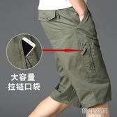 中年七分褲男寬鬆大碼爸爸裝外穿夏季純棉休閒中褲子中老年人短褲
