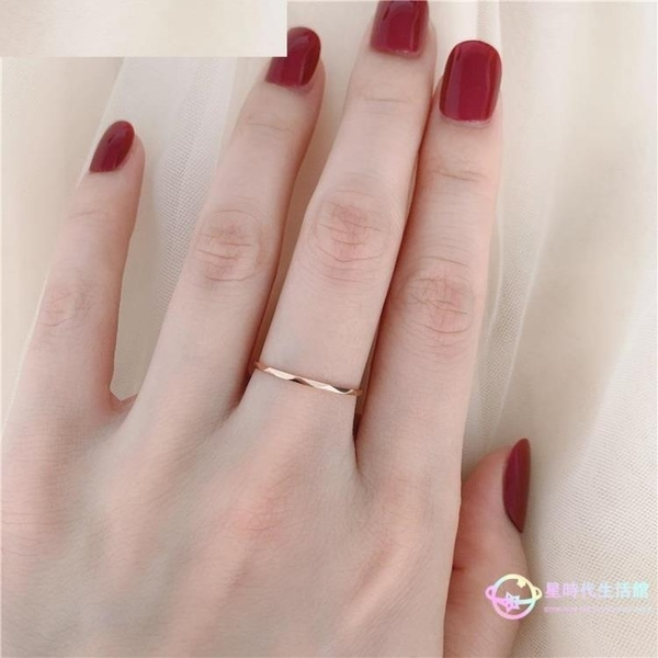 戒指 日韓版簡約個性光面菱形紋路波浪細款鈦鋼鍍18K玫瑰金女尾戒 【8折搶購】