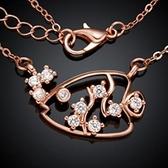 項鍊 玫瑰金純銀 鑲鑽吊墜-獨特熱帶魚生日情人節禮物女飾品3色73br127【時尚巴黎】