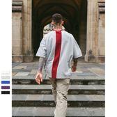 中袖T恤-純棉後背撞色拼接線條男上衣5色73qw59[巴黎精品]